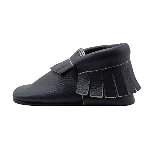 YIHAKIDS Baby Tassel Shoes Soft Leather Sole Infant Shoes Baby Moccasins Crib Shoes Navy Blue(size 6.5,12-18 months/5.3in) - Image 5