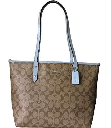 Coach Signature City Zip Tote Bag Handbag (Khaki/Pale Blue)