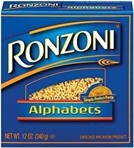 Ronzoni Alphabets Enriched Macaroni Non GMO 12 Oz. Pack Of 3.
