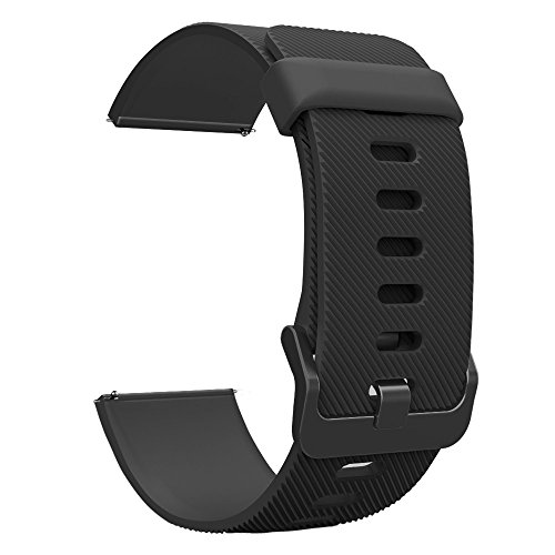 UMTELE Compatible for Fitbit Blaze Band, Soft Flexible Silicone Strap Quick Release Pins Easy Wearing Band Replacement with Fitbit Blaze Smart Fitness Watch,Black Black Buckle (All Black, Large) (Black Blaze)