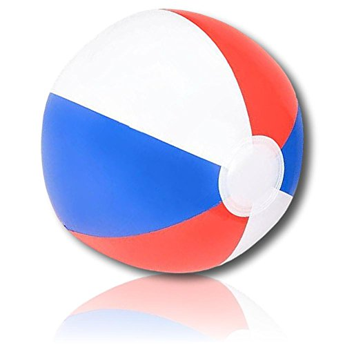 """Custom Beach Ball (ULTRA Durable & Custom {12"""" Inch} 24 Bulk Pack of Mid-Size Inflatable Beach Balls for Summer Fun, Made of Lightweight FLEX-Resin Plastic w/ Patriot USA Flag American Patriotic Style {Red, White, Blue})"""