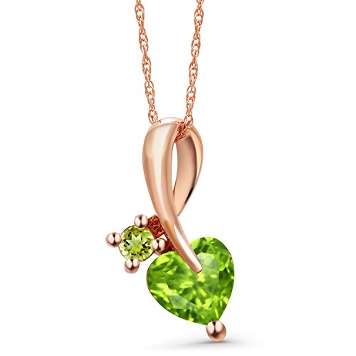 (Gem Stone King 10K Rose Gold Green Peridot Pendant Necklace 0.95 Ct Heart Shape with 18 Inch Chain)