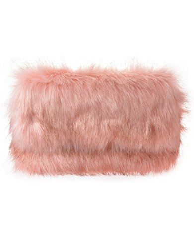 Fur Pink Ladies Fluffy Feather Flap Runway Faux and Clutch With Chain aaTtpr