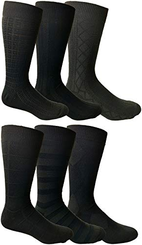 - Yacht&Smith 6 Pairs Mens Dress Socks, Textured Solid Colors, Premium Knit (6 Pairs Black)