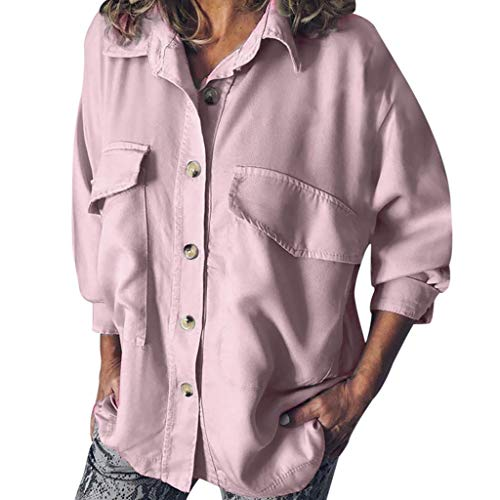 Mililian-Beauty Gifts for Women,Women Fashion Long Sleeve Solid Color Double Pocket Tooling Shirt Casual Blouse