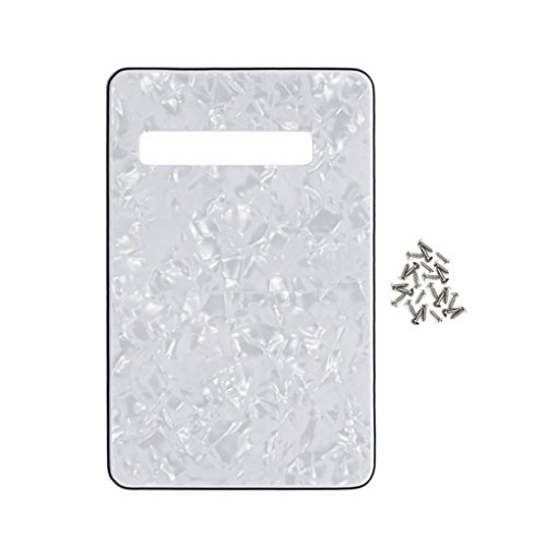 Pearloid Tremolo Cover - IKN Strat Tremolo Cavity Cover Guitar Custom Backplate w/Screws for Strat Squier Guitar DIY Back Plate Replacement, 4Ply White Pearl