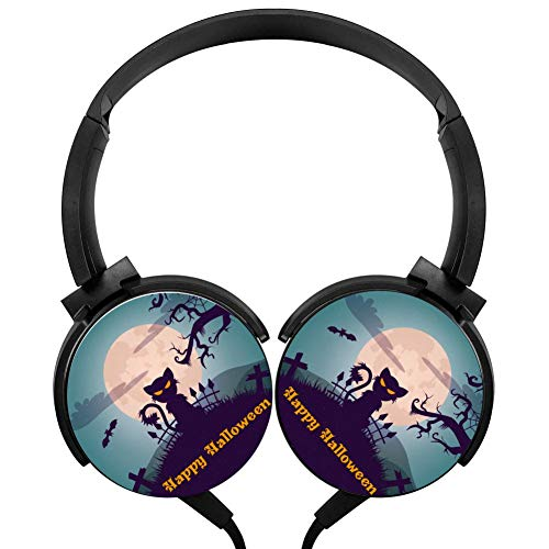 Moon Halloween Cat Headphones 3D Printed Over-Ear Lightweight Headphone for Kids Men Woman