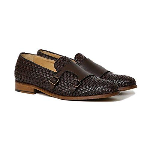 Scarpe Artigianali Uomo Doppia Fibbia di Colore Testa di Moro Calzature Italiane 100% Vera Pelle Loafer Shoes Double Monkstrap Made in Italy