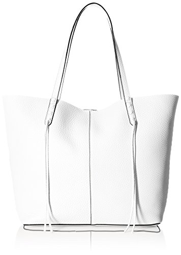 Rebecca Minkoff Medium Unlined Tote with Whipstich, Optic White (White Leather Tote Bag)