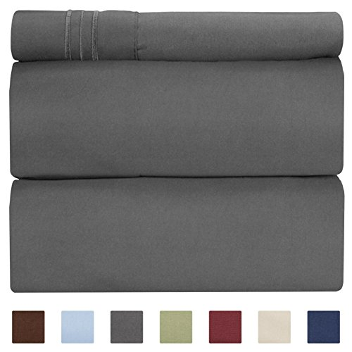 CGK Unlimited Twin XL Sheet Set - 3 Piece - Fits College Dorm Rooms - Hotel Luxury Bed Sheets - Extra Soft - Deep Pockets - Easy Fit - Breathable & Cooling - Dark Grey Bed Sheets - Twins