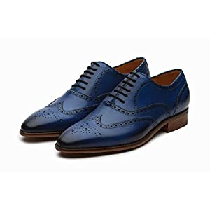 Dapper Shoes Co. Handcrafted Genuine Leather Men's Classic Brogue Oxford Wing-Tip Lace up Leather Lined Oxfords Shoes