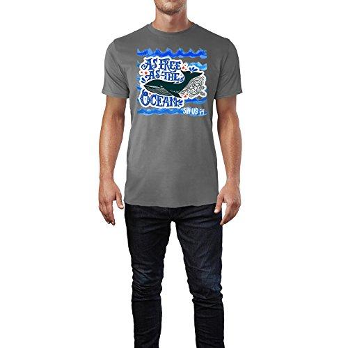 SINUS ART ® Blauwal im Meer – As Free As The Ocean Herren T-Shirts in Grau Charocoal Fun Shirt mit tollen Aufdruck