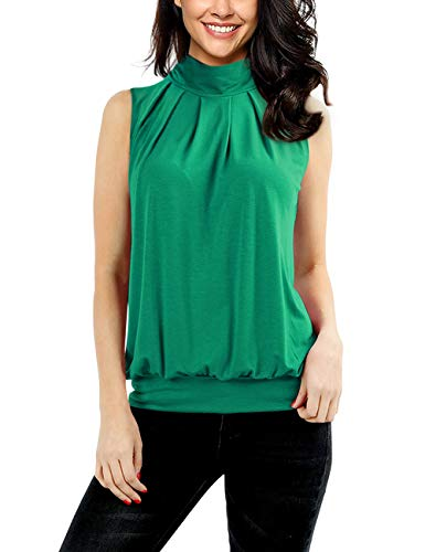 Yesfashion Women Sleeveless Mock-Turtleneck Pleated Tank Top Green - Turtleneck Top Shirt