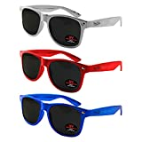 Wayfarer Sunglasses for Men, Women & Kids by Ray Solée- 3 Pack of Tinted Lenses with UVA & UVB Protection (Red,Blue,Silver, Black)