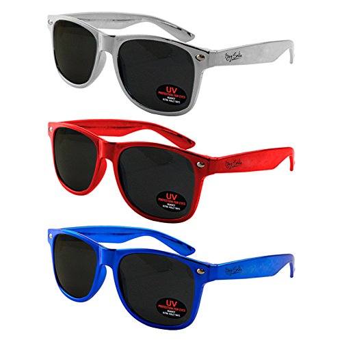 Wayfarer Sunglasses for Men, Women & Kids by Ray Solée- 3 Pack of Tinted Lenses with UVA & UVB Protection (Red,Blue,Silver, Black) by Ray Solée (Image #7)