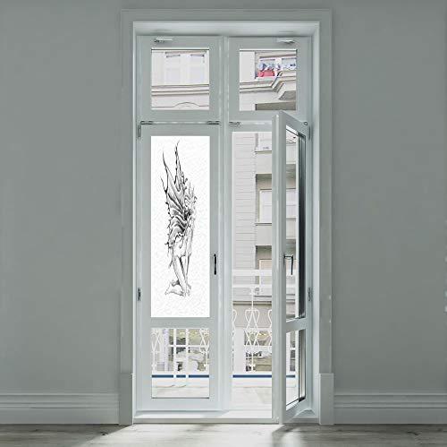 (C COABALLA Ethylene Film Printing Design Window Film,Tattoo Decor,Suitable for Kitchen, Bedroom, Living Room,Artistic Pencil Drawing Art Print Nude Fairy Opening,24''x70'')