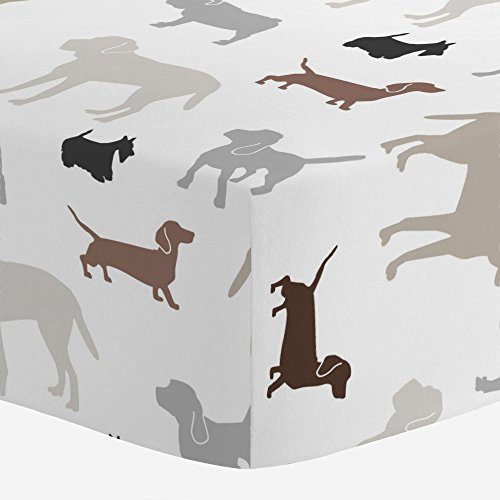 (Carousel Designs Brown and Gray Dogs Crib Sheet - Organic 100% Cotton Fitted Crib Sheet - Made in The USA)