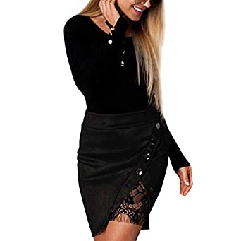beautyjourney Mini Falda Flaca de Las Mujeres Falda Lá piz Bodycon De Remiendo De Encaje Falda Elegante de la Tarde de la Falda del Partido de Tarde Falda