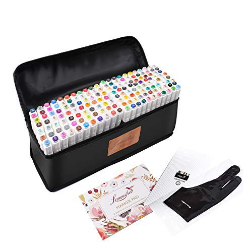L'émouchet Twin Marker Pens 170 Colors Dual Tips Art Animation Blender Pens with Carrying Case for Sketch Coloring Painting Highlighting Underlining Render Manga and Design
