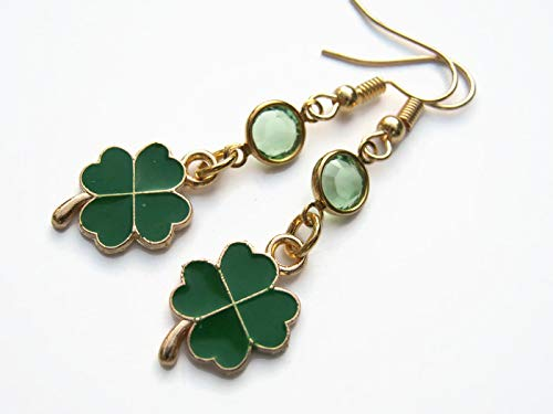 - Enameled Shamrock Birthstone Earrings, Gold Tone Four Leaf Clover Earrings, Personalized St Patricks Day Jewelry, Green