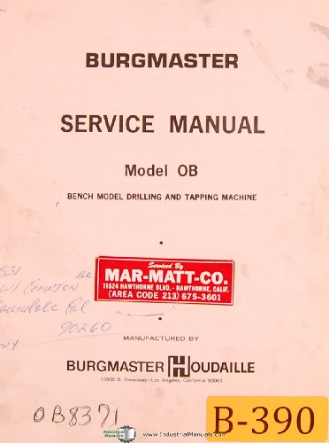 Burgmaster OB, Houdaille, Bench Model Drilling Machine, Service ()