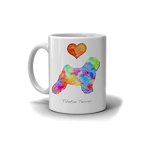 Tibetan Terrier Dog Breed Mug by Artist Dan Morris, Personalize with Dog Name, Two Sizes 1