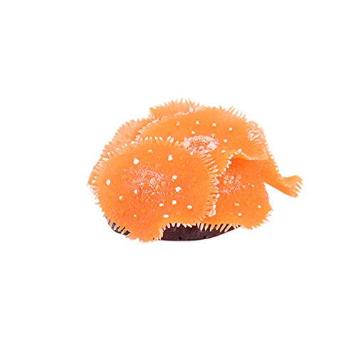 - guohanfsh Fashion Aquarium Fish Tank Soft Artificial Coral Water Plant Underwater Ornament (1Pcs) Orange