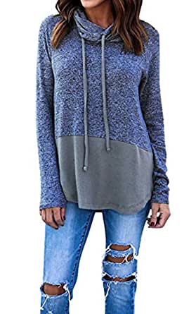 Hibluco Women's Cowl Neck Long Sleeve Pullover Sweater Blouse Knit Tops Blue