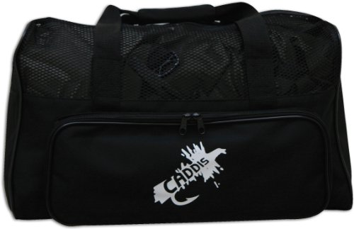 (Caddis Deluxe Black Nylon Canvas Wader Bag with Mesh Dry Top, Changing Mat and Carry Straps)