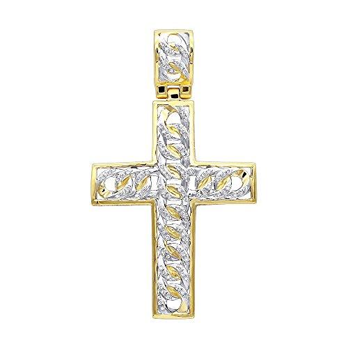 Hip Hop Jewelry 10k Gold Cuban Link Chain Diamond Cross Pendant 0.9ctw (Yellow Gold) by Luxurman