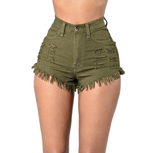 Price comparison product image Gillberry Women Summer High Waist Ripped Denim Jeans Beach Pants Hot Shorts Jeans (L, Army Green)