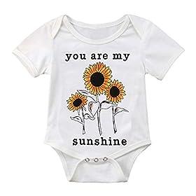 LiLiMeng Newborn Infant Baby Girl Boy Letter Sunflower Print Short Sleeve Romper Bodysuit Clothes Ou