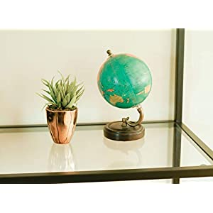 Small Faux Aloe Succulent in Rose Gold Ceramic Planter - 4 x 6 Inches - Marmeda Decor Potted Artificial Plant in Shiny Copper Glazed Pot - Global Modern Metallic Decor for Home or Office 2