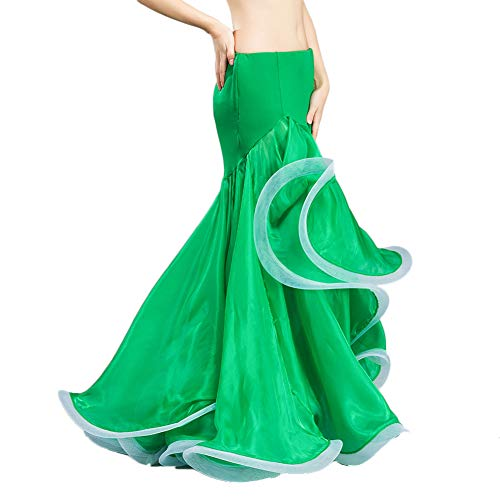 ROYAL SMEELA Belly Dance Skirts Green Professional Chiffon Belly Dancing Costume Women Fishtail Ruffle Mermaid Hip Skirt, One Size, 3 -