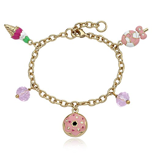 Little Miss Twin Stars Candyland 14k Gold-Plated Donut, Ice Cream & Lollipop and Crystals Charm Bracelet/ 5.5