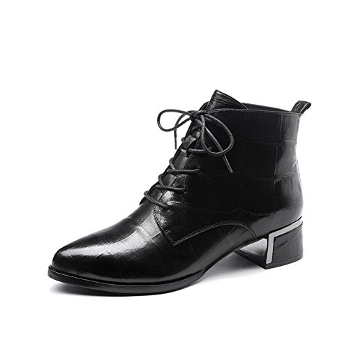 Pointed Toe Velvet Mid Heel Block Heels Kitten Pumps Shoes Women Ladies Black - 3