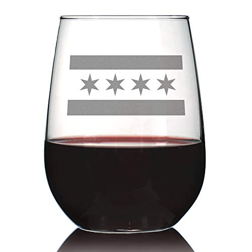 Chicago Flag - Cute Chitown Stemless Wine Glass, Large 17 Ounce Size, Etched Sayings, Gift Box