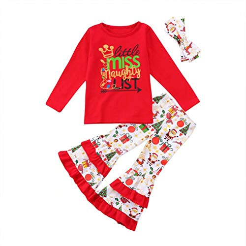 Pants Naughty (3Pcs/Set Toddler Girls Christmas Outfits T-Shirt Tops Flare Pants Headband Clothes Set (1-2 Years Old, Red))