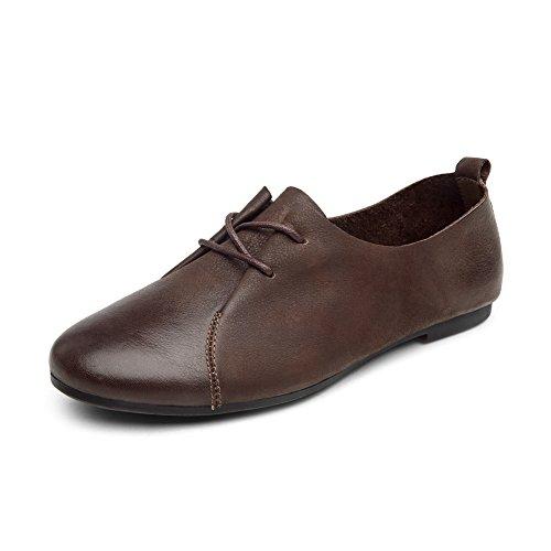 Vintage mujeres zapatos en primavera/redondo zapatos de correa/La comodidad zapatos planos a mano A