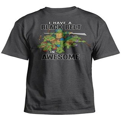 - Ninja Turtles I Have a Black Belt In Awesome' Kid's Youth Charcoal Heather T Shirt (XL/14, Charcoal)