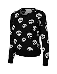 2LUV Women's Long Sleeve Knit Skull Sweater
