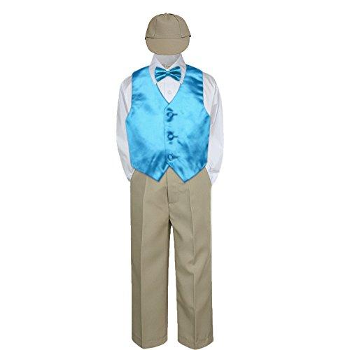 b9869be6cf3f 5pc Baby Toddler Kid Boy Party Suit KHAKI Pants Shirt Vest Bow tie ...