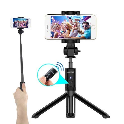 Price comparison product image Bluetooth Selfie Stick Tripod with Shutter Remote for iPhone 6 6s 7 Plus Galaxy s7 s8 Plus, CAIYOULE Extendable Aluminum Monopod and Foldable stand 360 Rotation (Black)