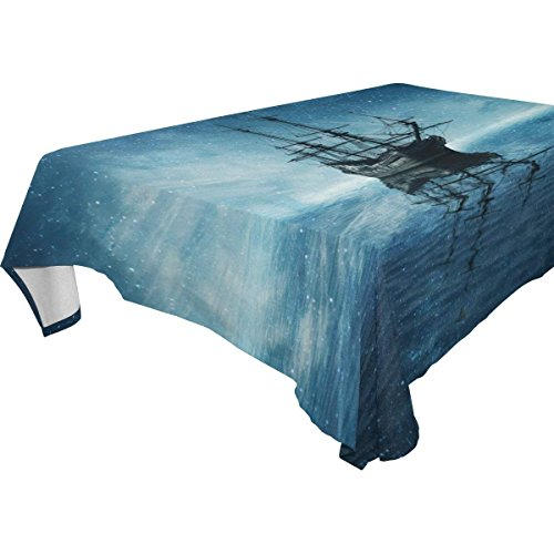 Rectangular Ghost Pirate Ship Ocean Sea Tablecloth Table Cloth Cover for Home Decor Dinner Kitchen Party Picnic Wedding Halloween Christmas 54 x 72 inches