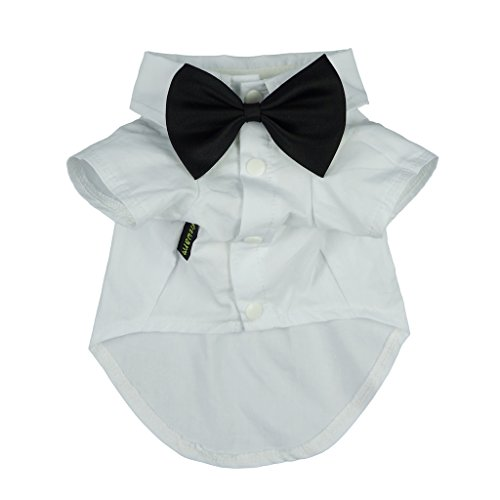 Fitwarm Pet Wedding Clothes Formal Tuxedo White Shirts for Dog with Bow tie White XL by Fitwarm (Image #1)