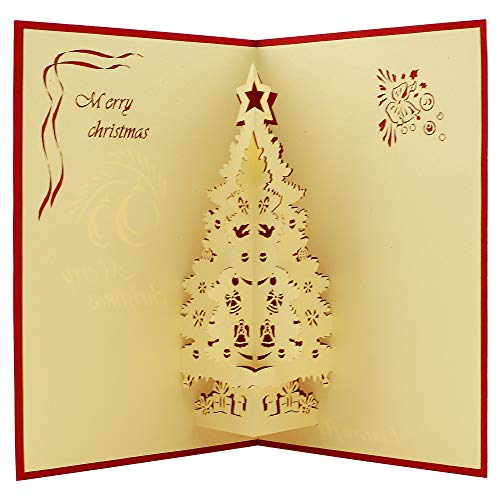 (Popup Card - Scotch Pine - Merry Christmas - 3D Card for some occasions as Christmas card, New Year Card, Holiday Card, Greeting Christmas Cards)