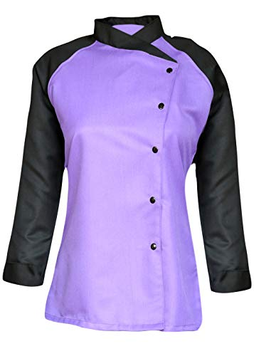 3/4 Contrast Sleeves Women's Ladies Chef's Coat Jackets By Chef Apparels (Purple, S (To Fit Bust 34-35))