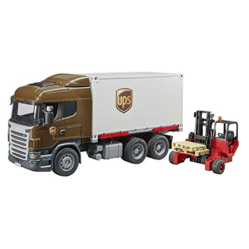 Bruder Scania R-Series Ups Logistics Truck with Forklift Vehicles - Toys