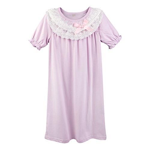 BOOPH Girls Nightgown, Cotton Little Girls Sleepwear Lace Bowknot Princess Short Sleeve Toddler Nightwear Purple 5-6 Year Dress 4-10 Year Old