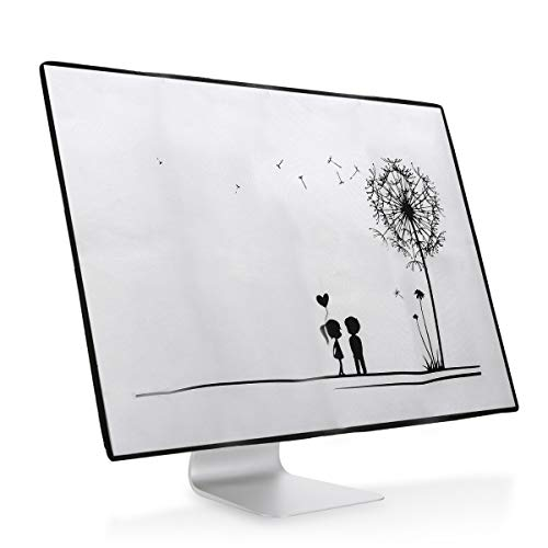 "kwmobile Monitor Cover Compatible with Apple iMac 27"" / iMac Pro 27"" - Dust Monitor Case Screen Display Protector - Dandelion Love Black/White"